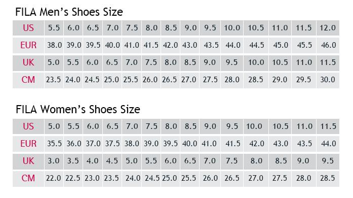 Μεγεθολόγιο FILA Shoes